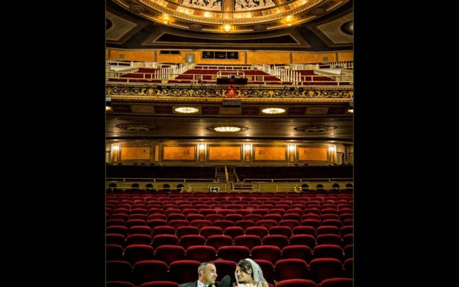 Wedding photos at The Palace Theatre in New Haven