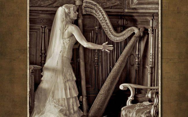 Bride with harp taken at Belcourt Castle in Newport RI Wedding