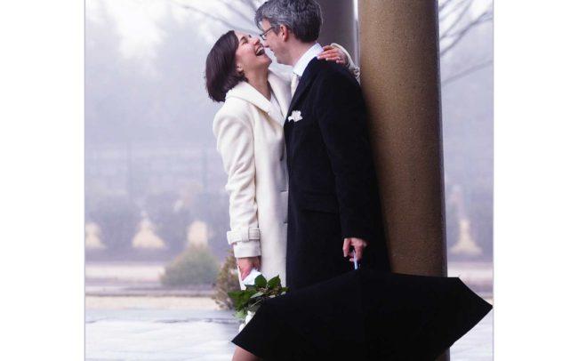 Harkness Park winter wedding in rain.